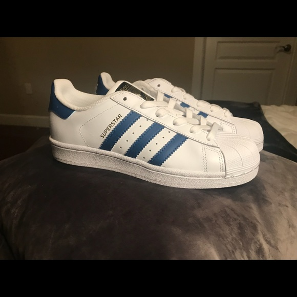 47fa18f2a48d Adidas Superstar White   Blue Women 5.5 Youth 4.5